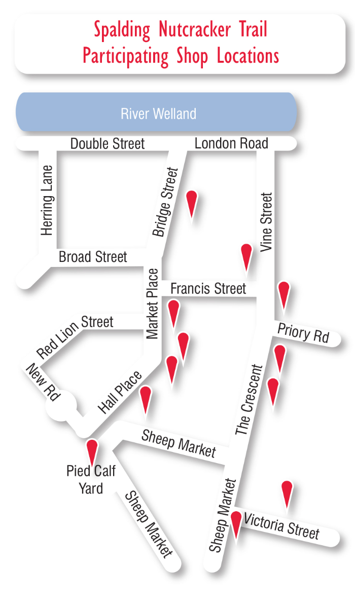 Spalding Nutcracker Trail, participating store map pin locations