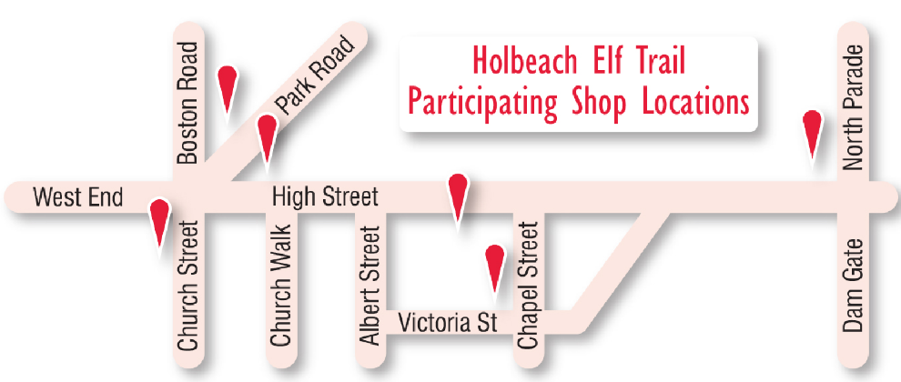 Holbeach Elf Trail, participating stores map pin locations