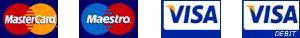 Payment cards accepted - MasterCard, Maestro, Visa, Visa Debit logo set